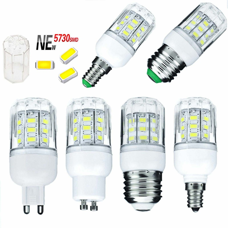 E27 E14 E12 E26 LED Bulb  5730 SMD 110V 220V DC 12V 24V 27 LEDs 7W Led Corn Light Lamps Christmas Chandelier Candle Lighting