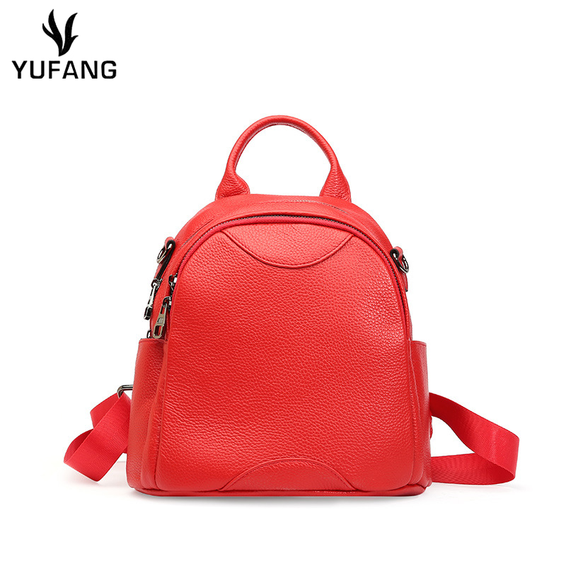Yufang Genuine Leather Women Backpack Fashion Casual Small Mini Backpacks For Girl Mochila Women Backpack Real Cowskin Women Bag