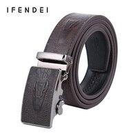 Luxury Designer Men S Automatic Alloy Buckle Belt Cowhide Genuine Leather Belt Men Business Crocodile Leather