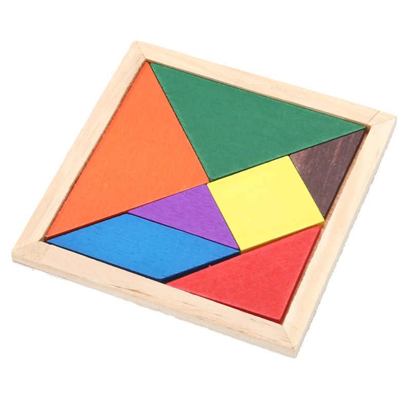 Houten Tangram Puzzel Speelgoed Kinderen Brain Teaser Kleurrijke Geometrie Patroon Match Puzzel Educatief Developmental Puzzel Speelgoed
