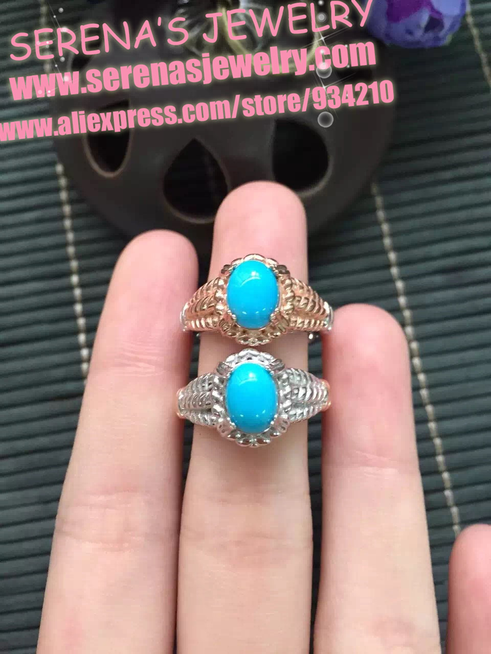 925 sterling silver Natural US turquoise ring for women gem stone size 6*8mm shipping factory ship directly