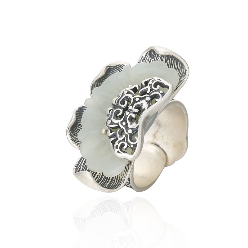 RADHORSE 925 Silver Rings for Women Fine Jewelry Hetian White jade Ink black crafts Sterling Silver Ring Adjustable SilverRADHORSE 925 Silver Rings for Women Fine Jewelry Hetian White jade Ink black crafts Sterling Silver Ring Adjustable Silver