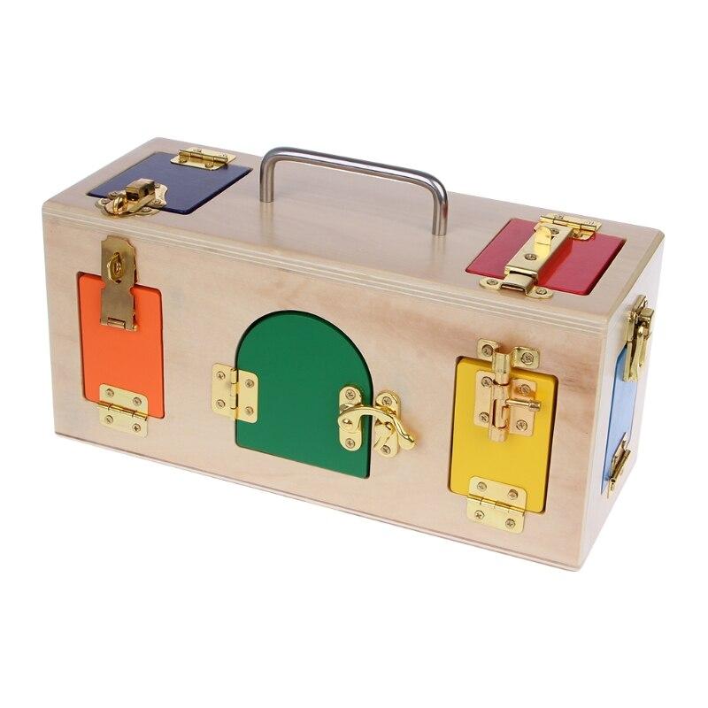 Les enfants aiment intéressant Montessori coloré serrure boîte enfants enfants éducatifs préscolaire formation jouets - 6
