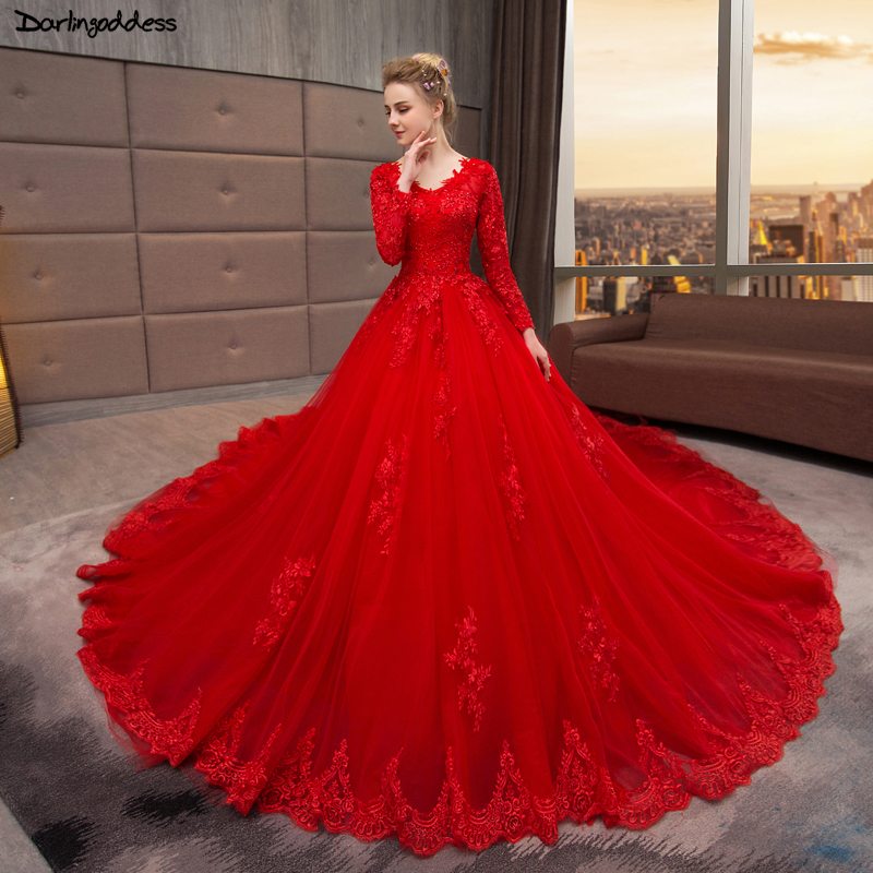 Red Ball Gown Dresses: Vintage Long Sleeve Lace Wedding Dress 2019 Vestido De