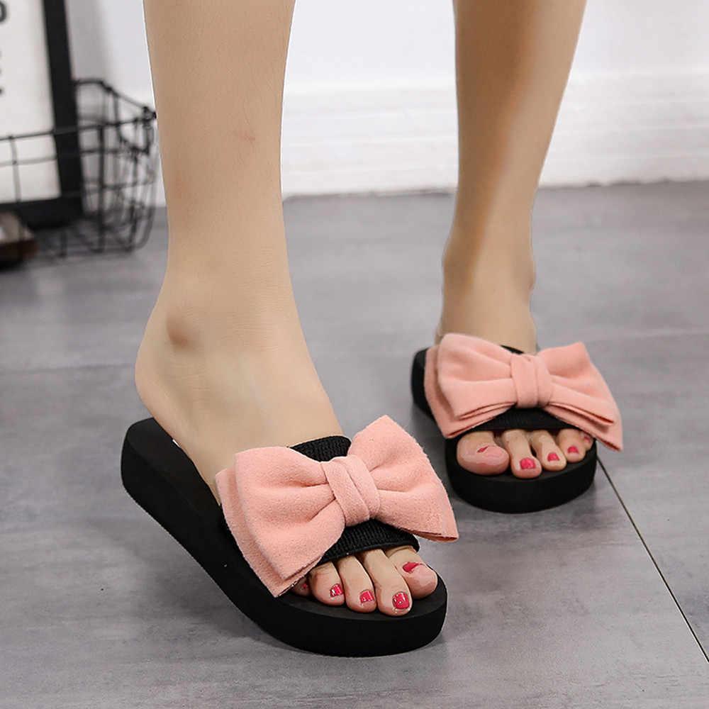 Sandalias de verano con lazo para mujer, chanclas para interiores y exteriores, zapatos de playa