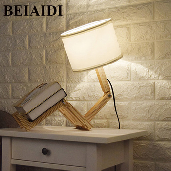 BEIAIDI DIY Wooden Table Lamp Modern Robot Shape Desk Table Lamp Foldable Table Light With E27 Indoor Reading Lighting Fixtures