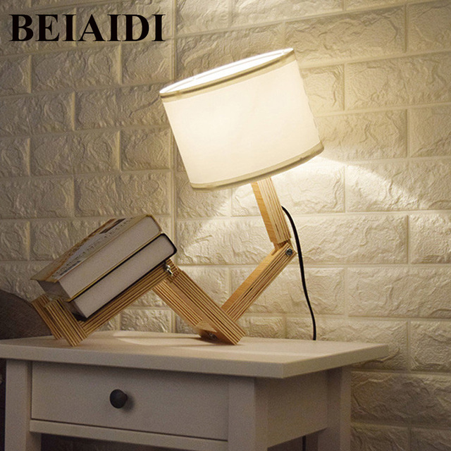 Us 4353 24 Offbeiaidi Diy Wooden Table Lamp Modern Robot Shape Desk Table Lamp Foldable Table Light With E27 Indoor Reading Lighting Fixtures In