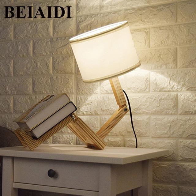 Beiaidi Diy Wooden Table Lamp Modern Robot Shape Desk Table Lamp