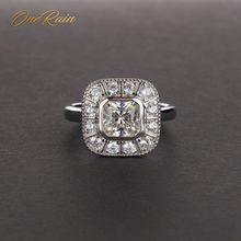 OneRain Vintage 100% 925 Sterling Silver Sapphire Topaz Citrino Diamanti di Nozze di Fidanzamento di Una Coppia Donne Degli Uomini Gems Anello Dei Monili