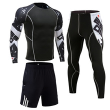 Winter Thermal Underwear Sets Men Tracksuit compression MMA rashgard male Gym jogging suit Sports su