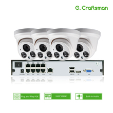 4ch 1080P POE Audio Kit H.265 System CCTV Security 8ch NVR 2MP Indoor IP Camera Built in Mic Surveillance Video P2P G.Craftsman