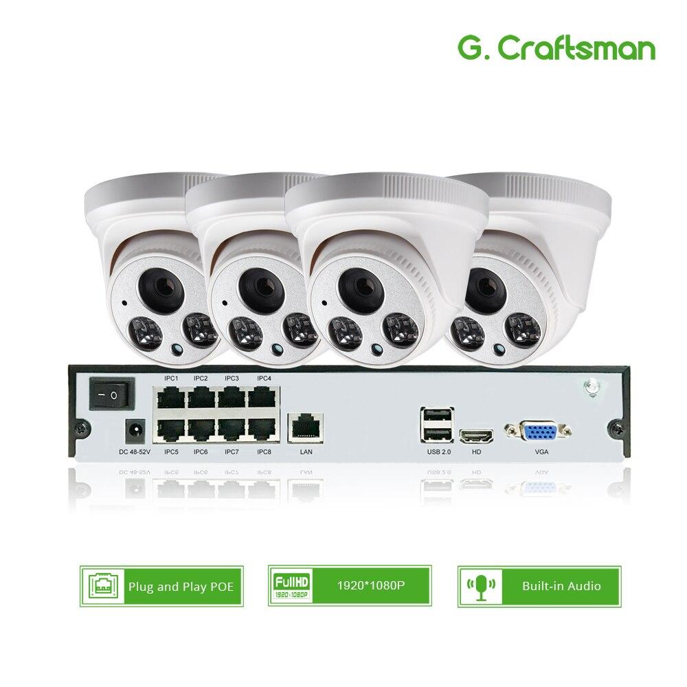 4ch 1080P POE Audio Kit H.265 sistema de seguridad CCTV 8ch NVR 2MP cubierta IP Cámara construido-en el Mic Video de vigilancia P2P G artesano Cámara de Video CCTV de 8MP y 5 pulgadas ahd ip, probador de cámara de vídeo mini ahd con soporte de monitor VGA 4 en 1 HDMI, entrada UTP, prueba de Cable