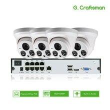 4ch 1080P POE zestaw Audio H.265 System CCTV bezpieczeństwo 8ch NVR 2MP wewnętrzna kamera IP wbudowany mikrofon nadzór wideo P2P G.Craftsman