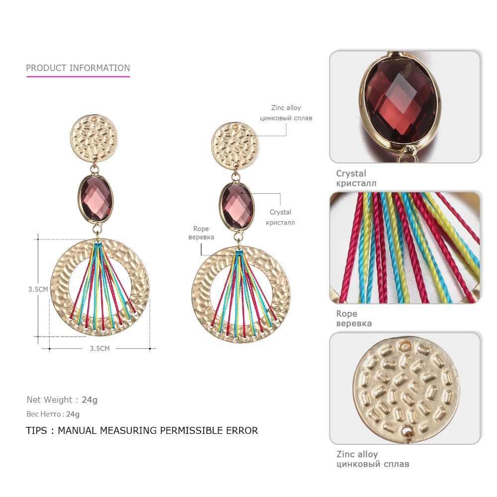 eManco Стильный мотаться свисающими ручной работы серьги для женщин Кристалл Этническое Урожай многоцветный серьги ювелирные изделия