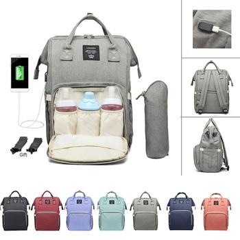 d4a4a06fd126f Büyük Kapasiteli Mumya Çanta Analık Su Geçirmez Bebek Bezi Çantası USB Şarj Hemşirelik  seyahat sırt çantası Arabası Çanta Bez Sırt Çantaları
