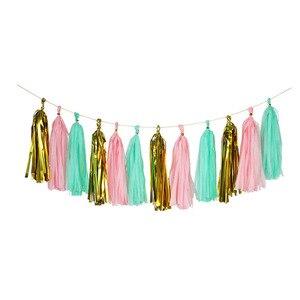 Image 3 - Papel de tecido colorido borlas pendurado guirlanda banners chuveiro do bebê diy artesanato decoração casamento aniversário