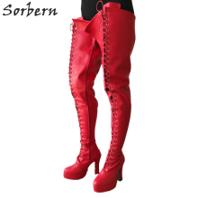 Sorbern BDSM 12cm Square Heel Boots Women Platform Lace Up Crotch Thigh High Goth Cosplay Fetish Boot Red Matte 2018