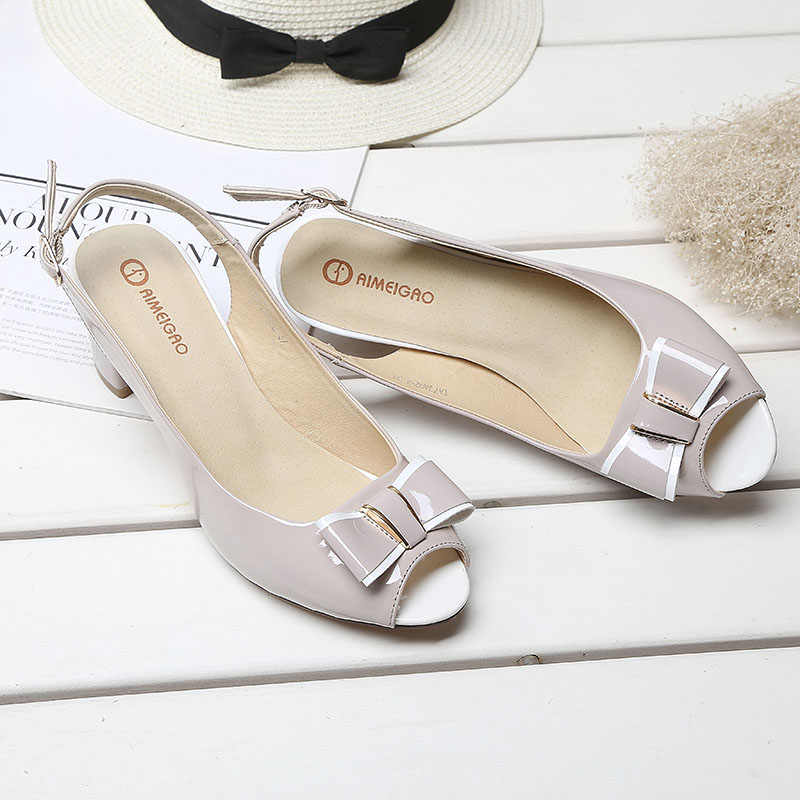 d71b43e8709bac ... Fashion High Heels Peep Toe Sandals Women Summer Open Toe Thick Heel  Sandals Back Strap Buckle ...
