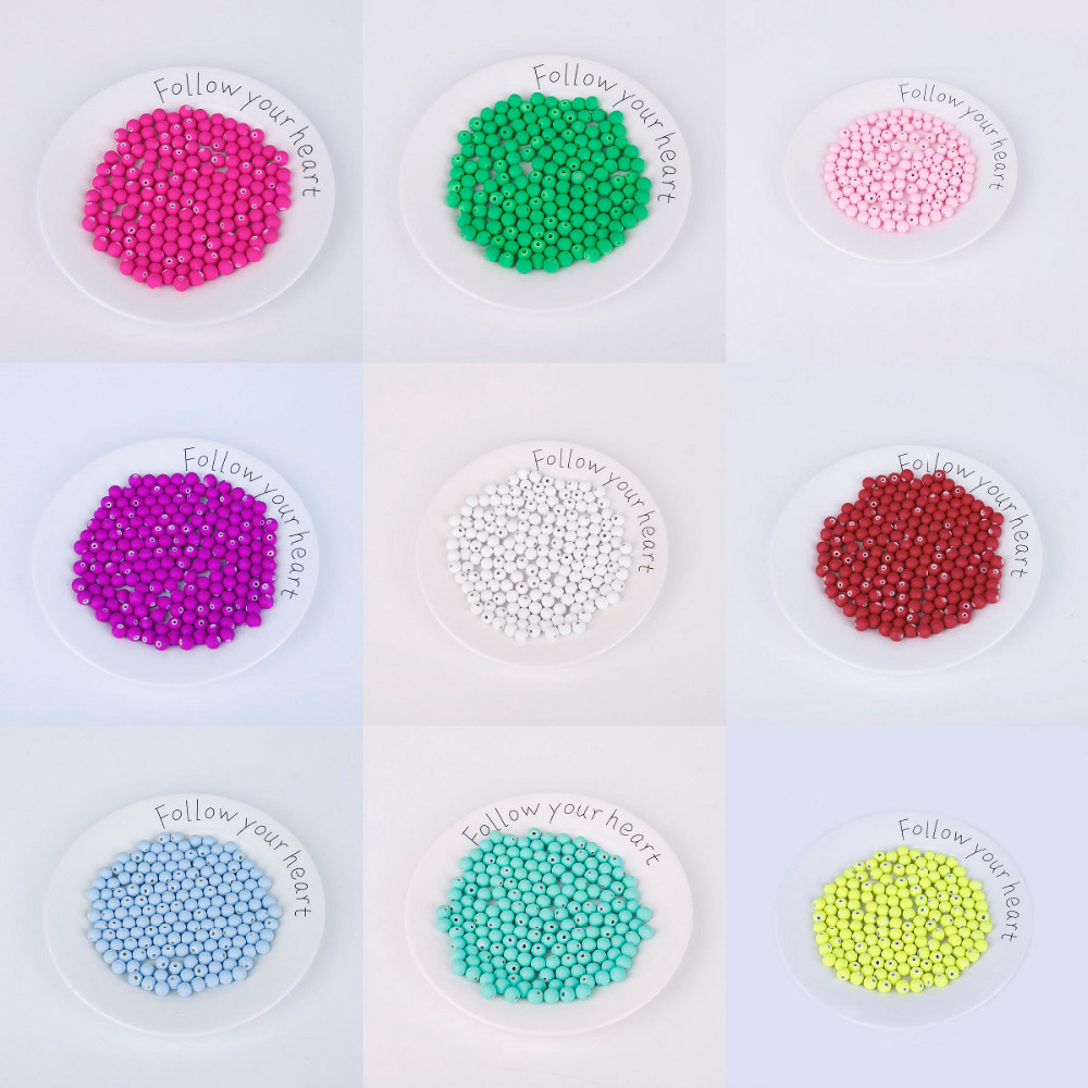 Jewelry & Accessories Lower Price with 8mm 50pcs Rubber Glass Beads High Quality Candy Color Neon Matte Loose Beads Handmade For Jewelry Making Diy Necklace Bracelet Bracing Up The Whole System And Strengthening It