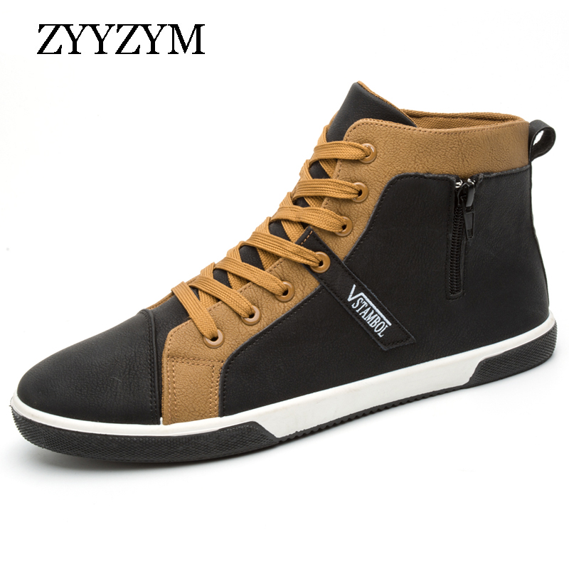 ZYYZYM Men Casual Shoes Spring Lace-up High Style PU Leather Fashion Trend Flats Non-slip Rubber Shoes Hot Sale zjnnk hot sale genuine leather men casual shoes black brown men flats handmade men father shoes lace up men shoes dropship h825