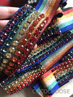 New 2018 summer fashion women girls crystal diamonds beading rainbow striped headbands elastic hair accessories female hair band