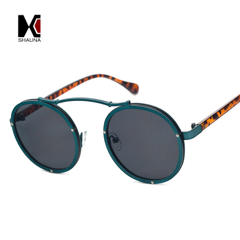 SHAUNA Popular Mulheres Rodada Óculos De Sol Da Marca Designer Vintage Quadro Óculos de Sol Dos Homens Fosco UV400