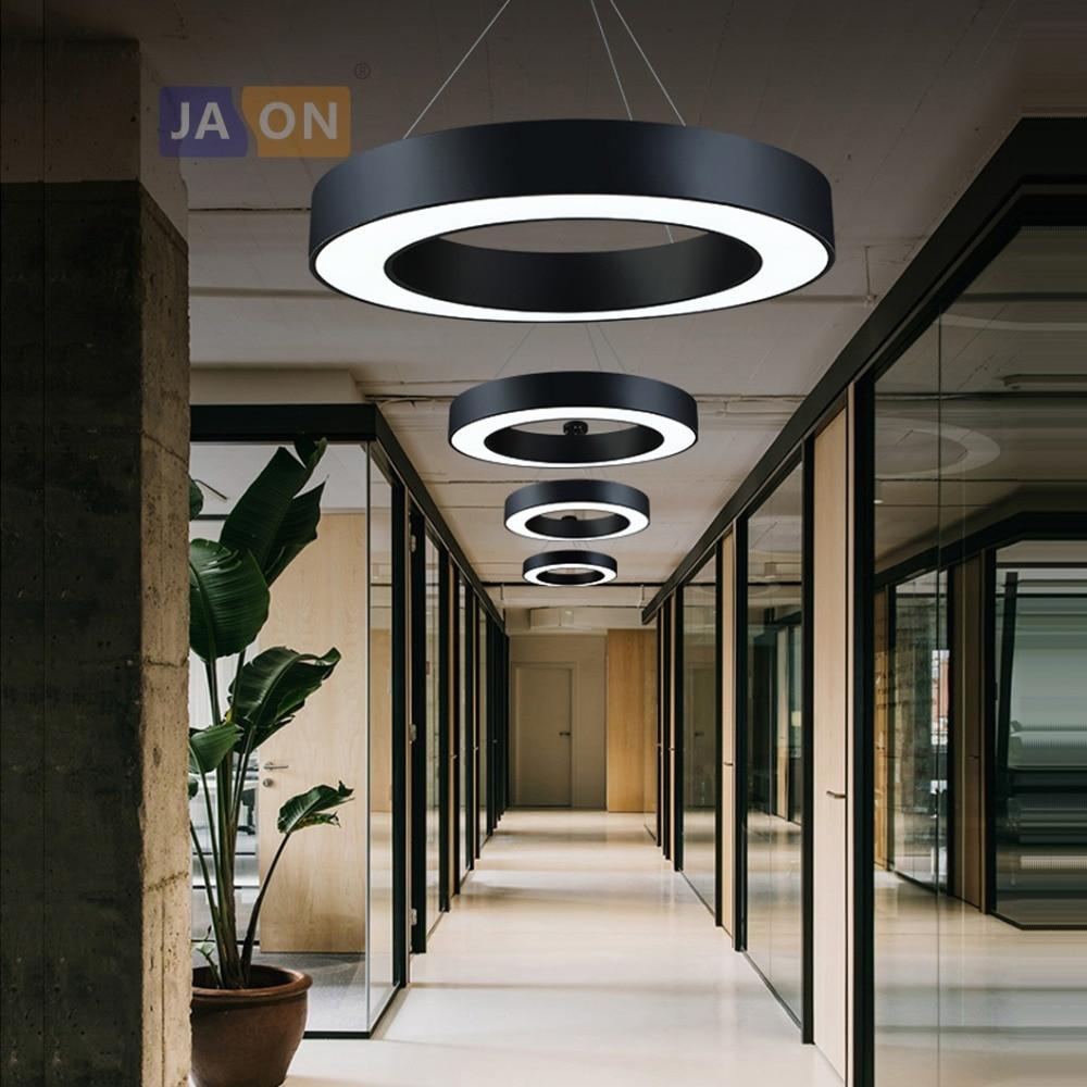 Светодио дный LED постмодерн Утюг акрил черный, белый цвет круглый кольцо люстра освещение Lamparas де Techo подвесной светильник Lampen для офиса