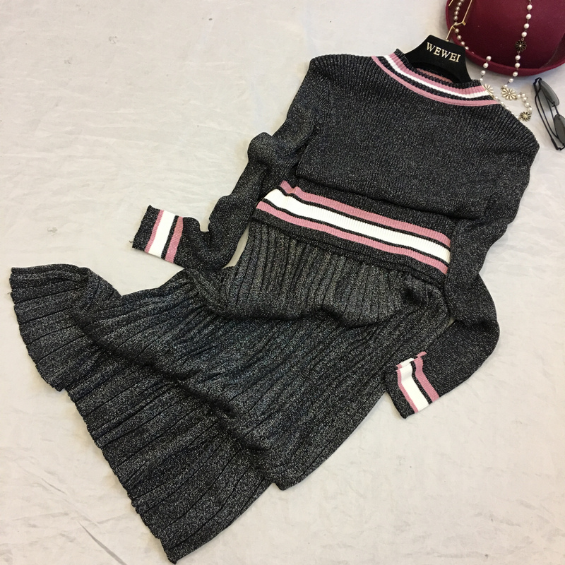 light silk shiny jersey coat cultivate morality sweater + pleated skirts long bitter fleabane dress girl