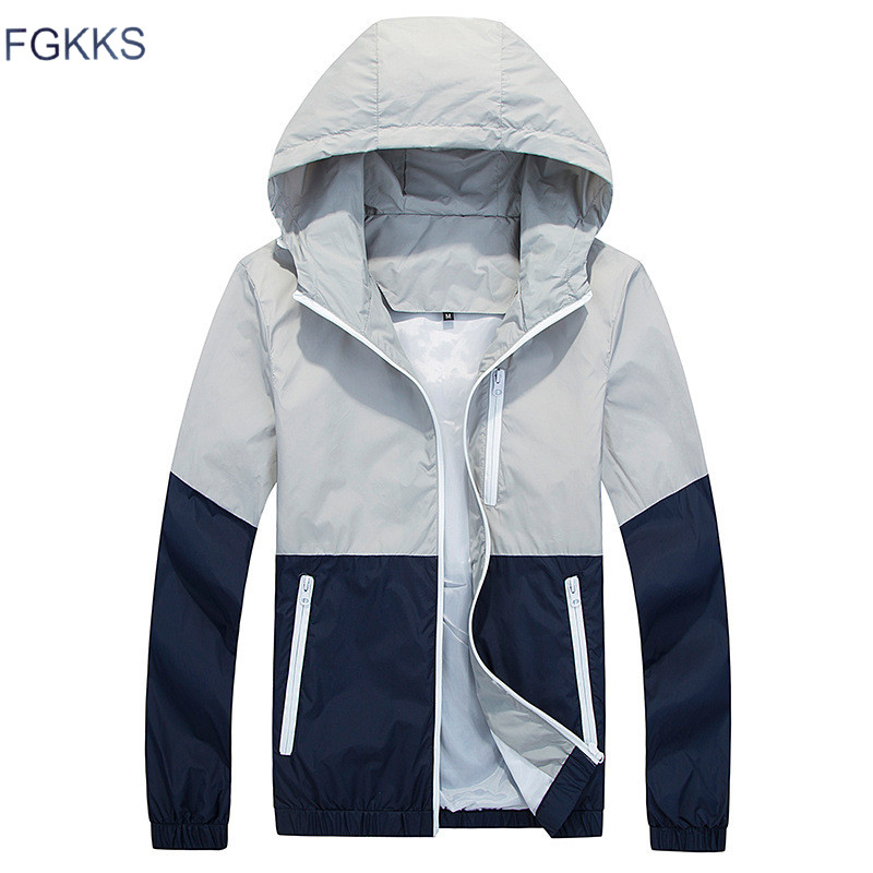 FGKKS Men Jacket Windbreake Autumn Men's Fashion Jacket Hooded Casual Male Coat Thin Men's Jackets Sunscreen