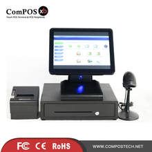 Double screen touch screen pos system 15 inch pos touch all in one pc with cash register pos touch screen