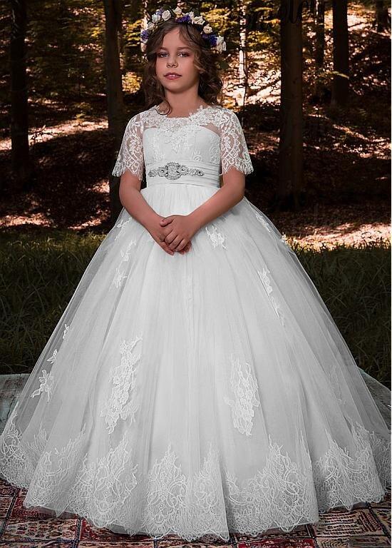 Short Sleeve Lace Flower Girl Dress For Wedding Princess Kids Dresses for Ball Gown First Communion Dresses For Little Girl цена