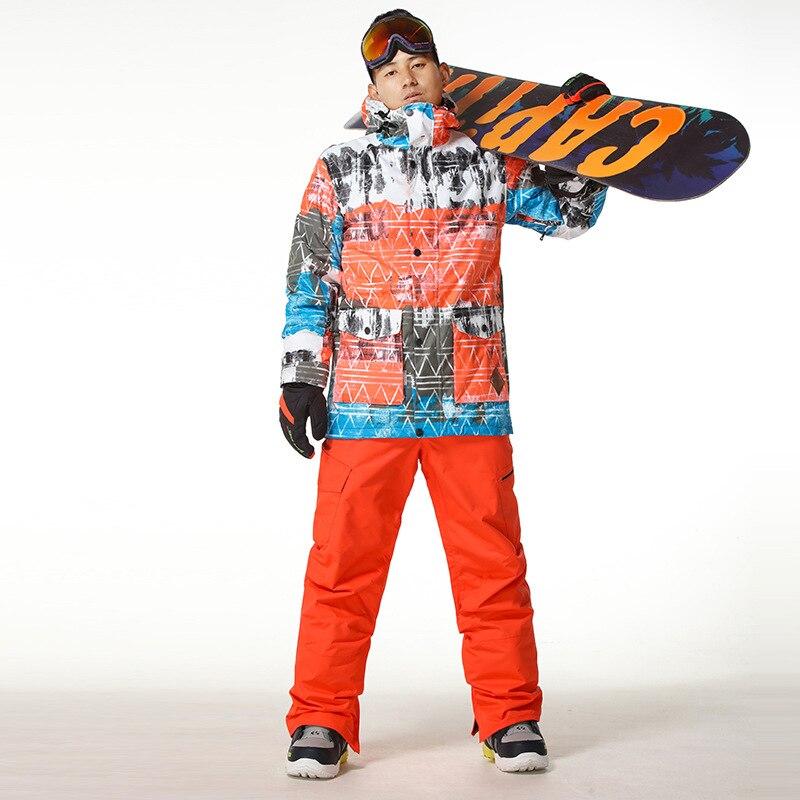 2017 Новый Мужчины Лыжные Куртки Непромокаемую Куртку На Лыжах Теплые Брюки Снег Одежда Открытый Спортивная Одежда Мужская Дышащий Лыжи Курт