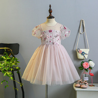 5270 Flowers Embroidery Petals Princess Party Girls Dress Wedding Summer Kids Dresses For Girls Wholesale Baby
