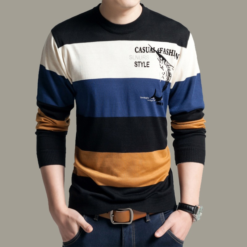 New Style Autumn & Spring Mens Casual O-Neck Striped Slim Fit Knitting Cotton Pullover Sweater