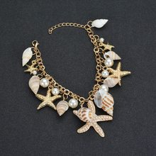 2019 Fashion Jewelry Shell Starfish Pearl Conch Bracelet Alloy Crown Star Fish Charm Bracelets For Women Summer Beach