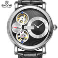 SKONE Mechanical & Quartz Dual Movement Watch Luxury Case Genuine Leather Strap Automatic Mechanical Watch Men Relogio masculino