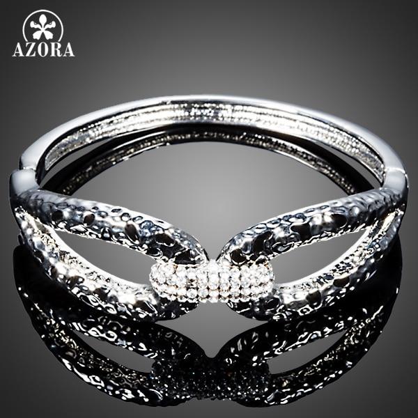 AZORA 2015 Lastest Design Clear Stellux Austrian Crystal Cuff Bangle Bracelet TB0082