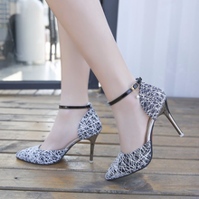Korean Edition Fashion Top 2009 Summer New Sequins Fine-heeled Pack and Cleaheels Sandals