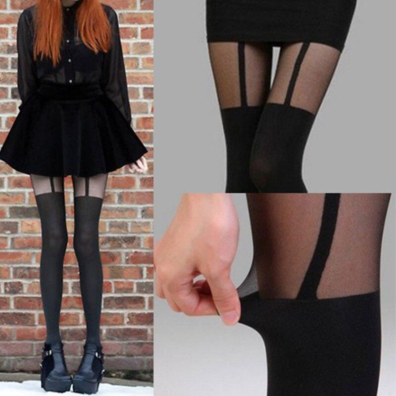 MOCK SUSPENDER TIGHTS - 120D + 30D Sexy Black Sheer Heart Bow Stripe Over The Knee Pantys Medias Hosiery Stockings Pantyhose