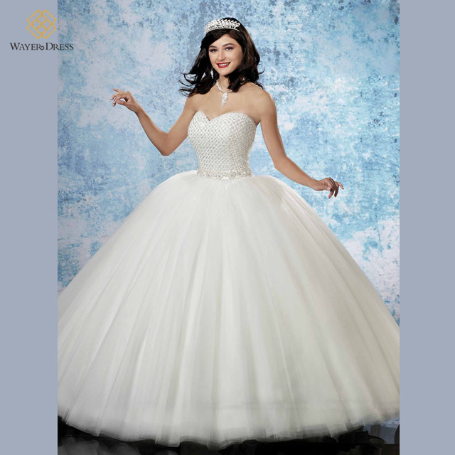 2016 Princess Ball Gown Puffy Wedding Dresses Sweetheart Sparkly Beaded Bodice Dress Bride