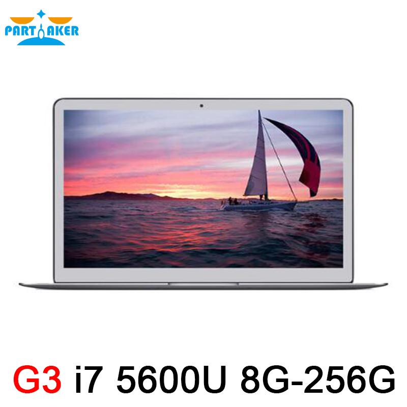 Prix pour En aluminium métal ultrabook ordinateur portable intel core i7 5600u 8g ram 256g SSD Ordinateurs Portables Portable Fenêtre 7 8 10 Linux 7000 mah batterie 2.6 Ghz