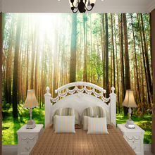 Medium 3D mural wallpaper customized natural view painting with tree sunshine behind sofa TV as background  living room  bedroom