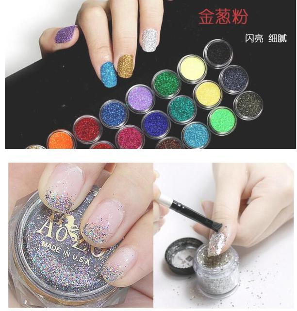 Kiezen 25g Witzwart Metalen Glitter Nail Art Tool Kit Acryl Poeder