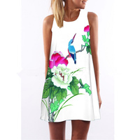 Double Luck New Arrival Summer Sleeveless O Neck Mini Dress Digital Print Flowers Birds Femme Robe