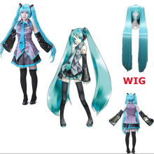 Japanese Anime Vocaloid Hatsune Miku Cosplay Maid costume suit Wig Halloween Midi Comic-con Party Dress Full set