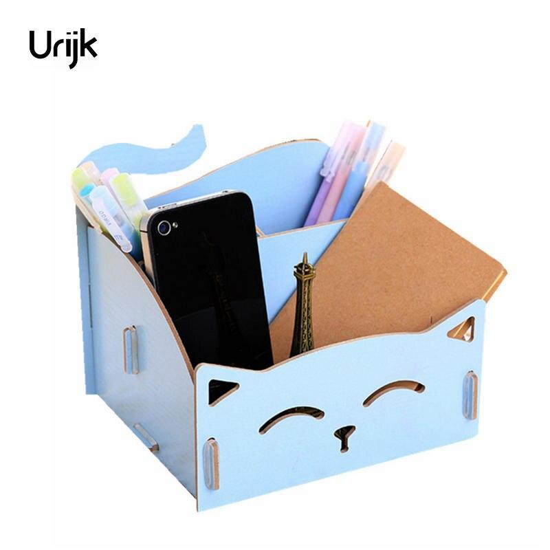 Urijk Smile Wooden Box Makeup Organizer for Cosmetics Storage Boxes Cosmetic Organizer Home Office Desk Accessories Organizer