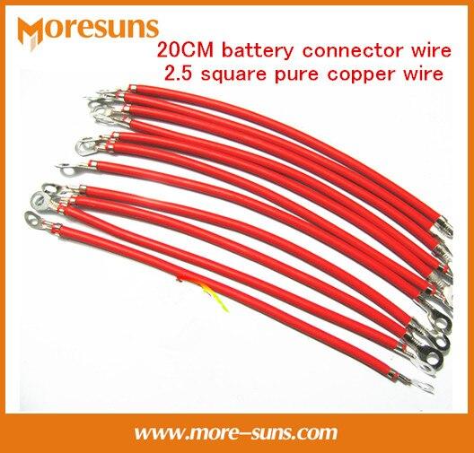 50pcs/lot High Temperature Oxidation 20CM Battery Connector Wire/line Nose Pure Copper Galvanize  2.5 Square Pure Copper Wire