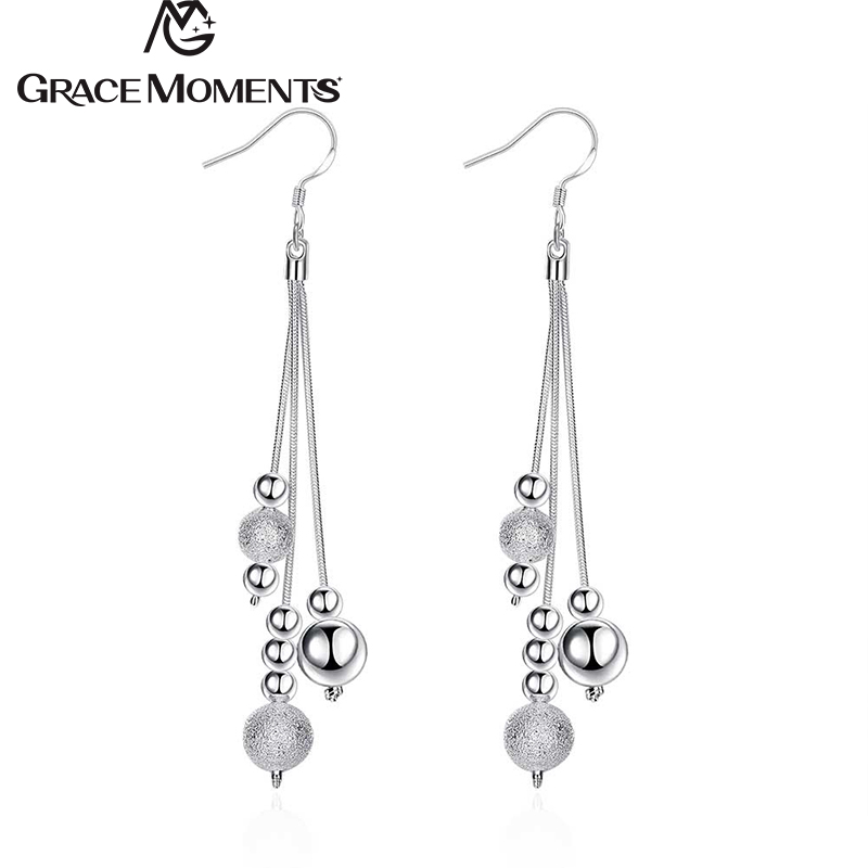 GRACE MOMENTS Hot Sale Silver Color Three-Wire Beads Dangle Earrings Fashion Party Jewelry For Woman Beautiful Wedding Gift