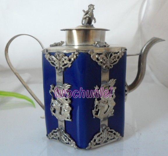 Азия племя тибетский серебряный резной дракон синий фарфоровый чайник обезьяна крышка украшения сада 100% Настоящее Тибетский серебро латун...