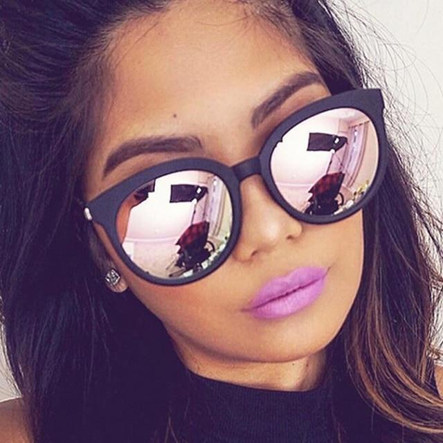 b2d50de98 OUTEYE القط العين النظارات الشمسية المرأة ظلال مرآة الإطار الأسود الإناث الشمس  نظارات طلاء 2018 أزياء